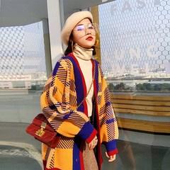 中长款针织很仙的毛衣开衫格子外套女秋冬chic网红慵懒风复古宽松