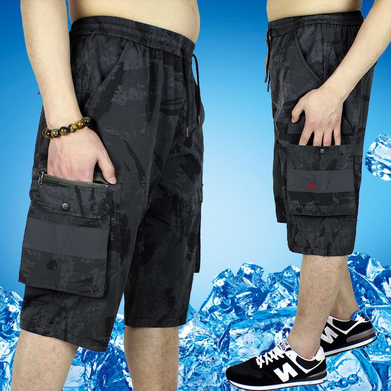 夏季男士七分短裤青年休闲工装中裤碎花迷彩7分沙滩马裤宽松大码