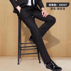 修身西裤男士黑色夏季直筒西装裤工作商务薄款休闲职业裤正装裤子