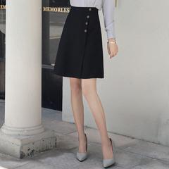 2019夏季新品韩版ol职业半身裙a字裙女纯色高腰中裙子气质西装裙