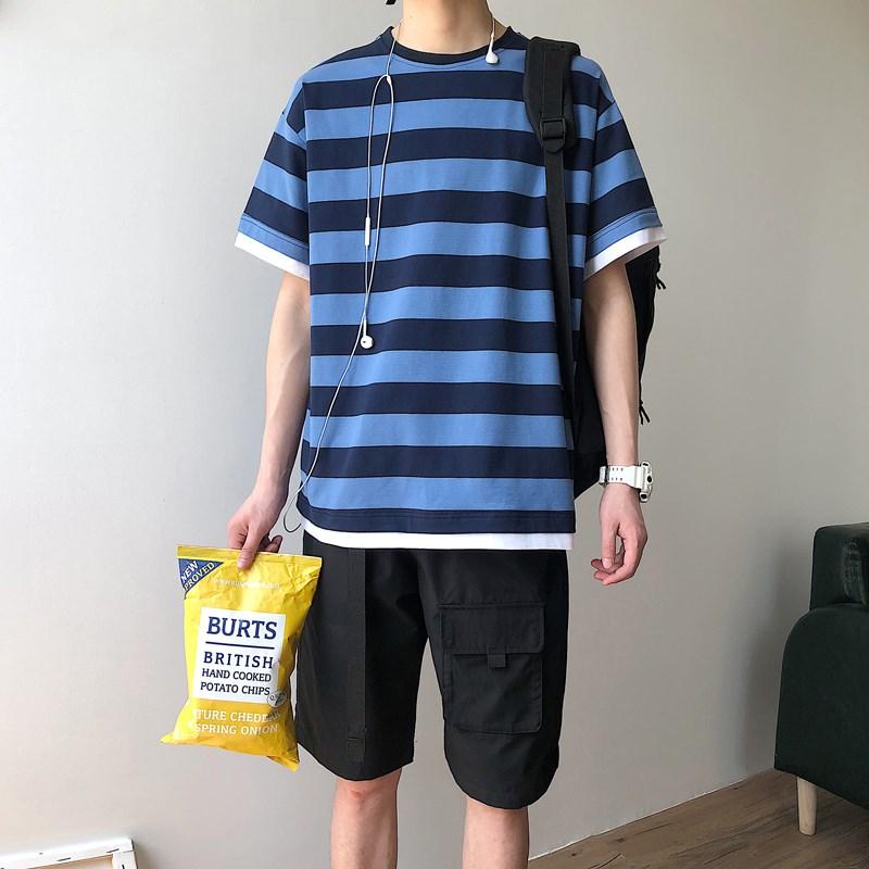 男装一套搭配帅气潮流衣服夏季韩版潮牌套装假两件条纹短袖T恤男