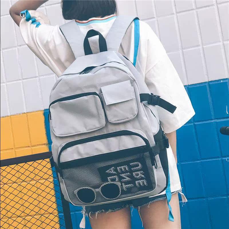 书包女韩版原宿ulzzang双肩包ins超火高中容量bf风学生chic大背包