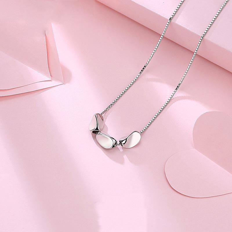 新款s925銀項鏈豌豆公主吊墜女短款鎖骨鏈韓版簡約百搭配飾品