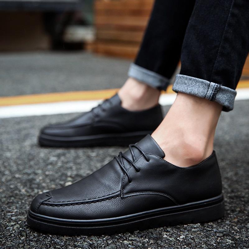 男士小皮鞋韩版全黑色软面软底上班英伦防滑工作休闲鞋夏季男鞋子
