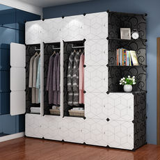 Simple cloth wardrobe imitation wood space plastic assembly dormitory rental detachable storage hanging wardrobe economy