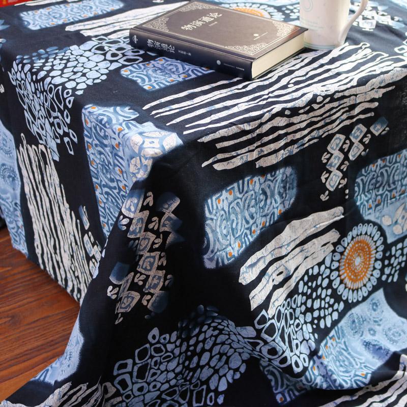 仿蜡染地中海酒吧咖啡厅深色装饰布民族风印花桌布布艺 棉麻布料