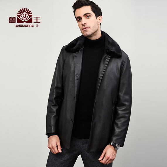 Beastmaster autumn and winter deer skin coat men's leather leather mink lapels skin overcome middle-aged leather jacket