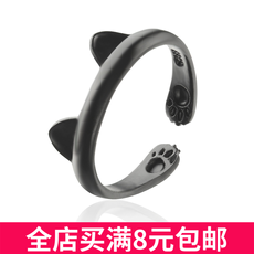 Korean version of the fashion super cute cartoon cat claw footprint ring Cute animal cat ears personality open ring