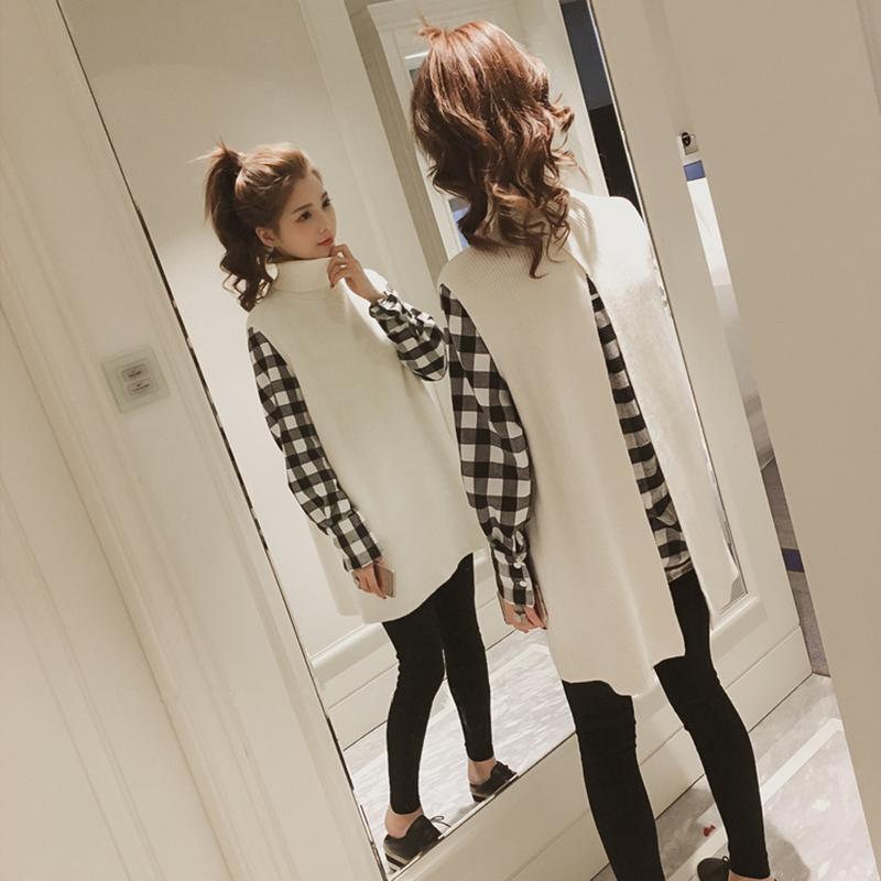 孕妇秋装套装时尚款2018新款潮妈外出格子上衣衬衫两件套装秋冬季
