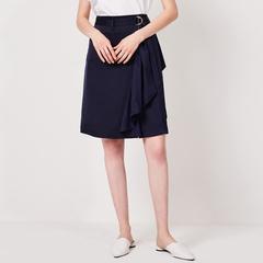 callmethis2019夏上新通勤气质简约设计感高腰不规则荷叶边半身裙