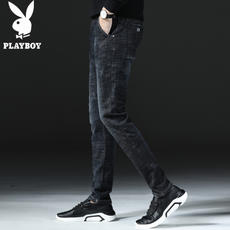 Playboy 2018 spring jeans male slim stretch pants feet Korean trend youth men's long pants