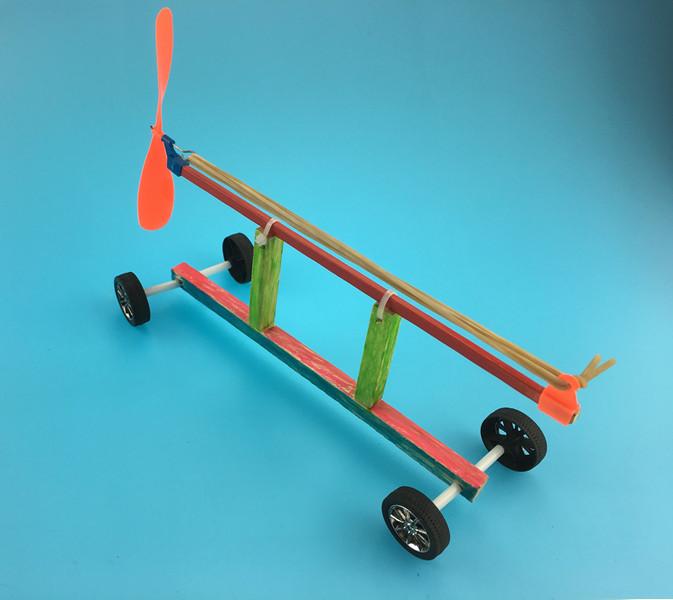 科技小制作模型 比赛专用套材 橡皮筋动力车 科普模型