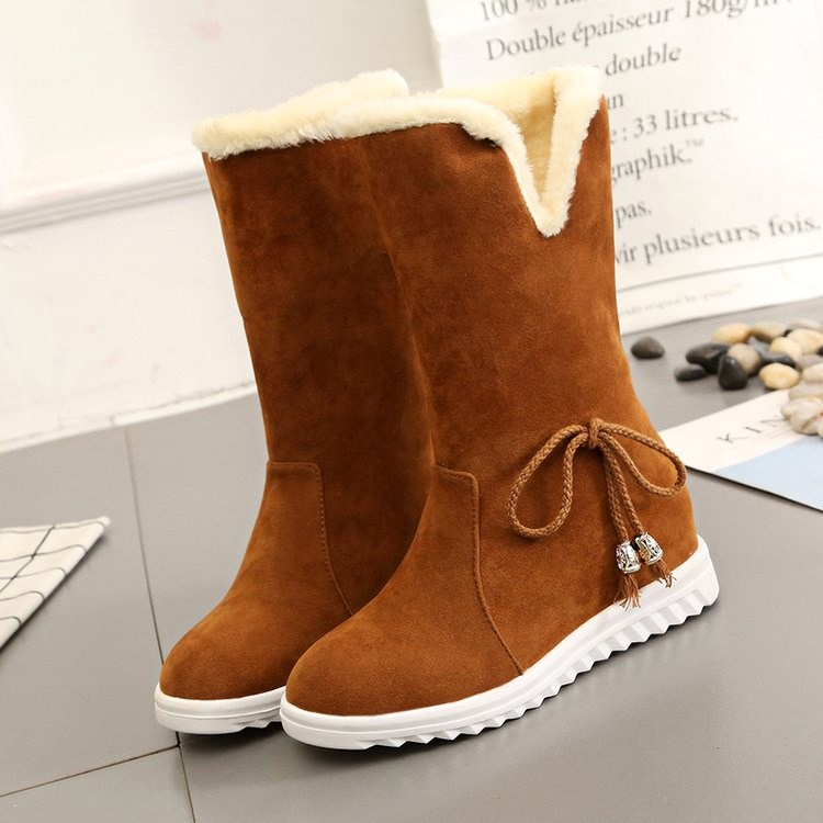 冬天12 13 14 15 16岁女孩初中学生保暖加绒棉鞋大童雪地靴17短靴