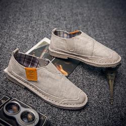 夏季低帮棉麻布男鞋子复古亚麻布鞋男一脚蹬休闲鞋英伦透气懒人鞋