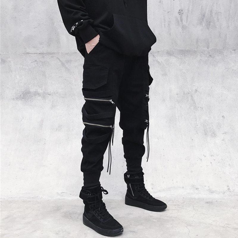 国潮工装裤男潮牌拉链装饰飘带潮流束腿窄脚裤街头嘻哈hiphop裤子