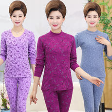 Ladies underwear, home clothes, warm pajamas, middle-aged cotton, large size, mother, grandmother, autumn clothes, long pants, micro-elastic suit