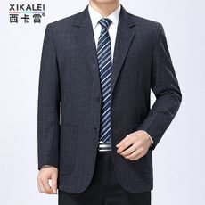 Spring middle-aged men's business casual suit middle-aged men's clothing check suits dad wear coat single West tops