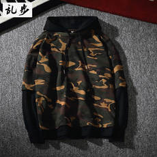 Grandpa Kanye WEST Camouflage Hoodie Sweater Set Fake Two Couples Loose Men's Top European Style