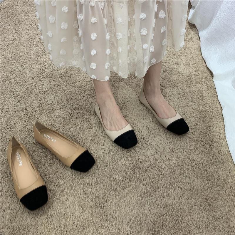 韩版新款奶奶鞋早秋新款复古方头豆豆底软底平底鞋单鞋女鞋