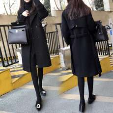 Black woolen coat 2018 Spring and Autumn New Korean Slim Thin Belt Long section Over the knees Coats