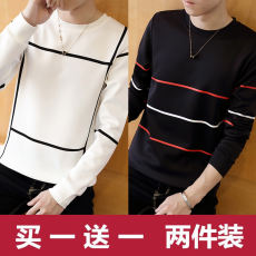 Autumn men's plus velvet long-sleeved t-shirt Korean version of the trend of students autumn and winter shirts shirts new sweater men's tide