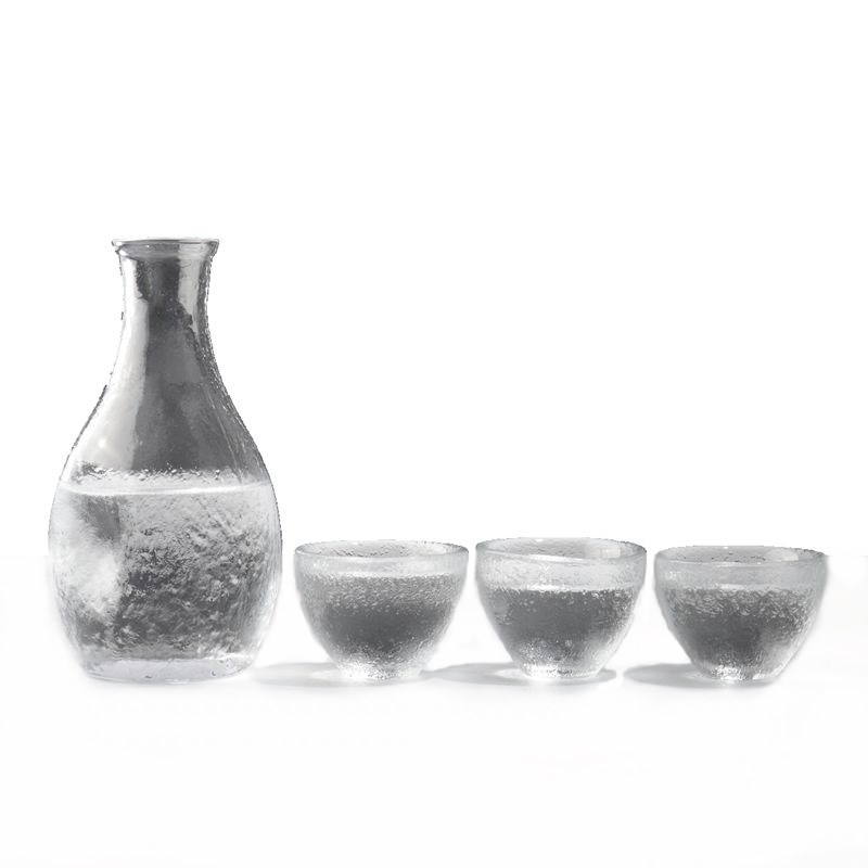 鑫雅居 白酒玻璃酒壶杯子套装创意锤目纹家用温酒壶日式清酒酒具