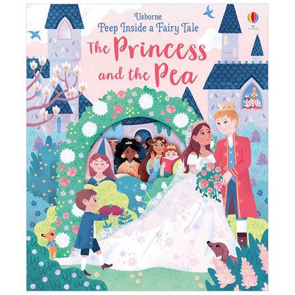 英文原版繪本 Peep Inside a Fairy Tale Princess and  the Pea 推頁看童話:豌豆公主紙板書 繪本 精裝 3-6歲安徒生童話故事