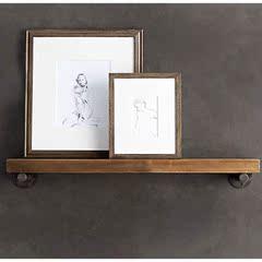 墙上置物架复古实木隔板收纳壁挂一字搁板铁艺家用墙壁酒架厨房架