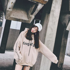 2018 autumn and winter new Korean students bf tide Harajuku wind loose thick hooded pullover sweater women's shirt tide