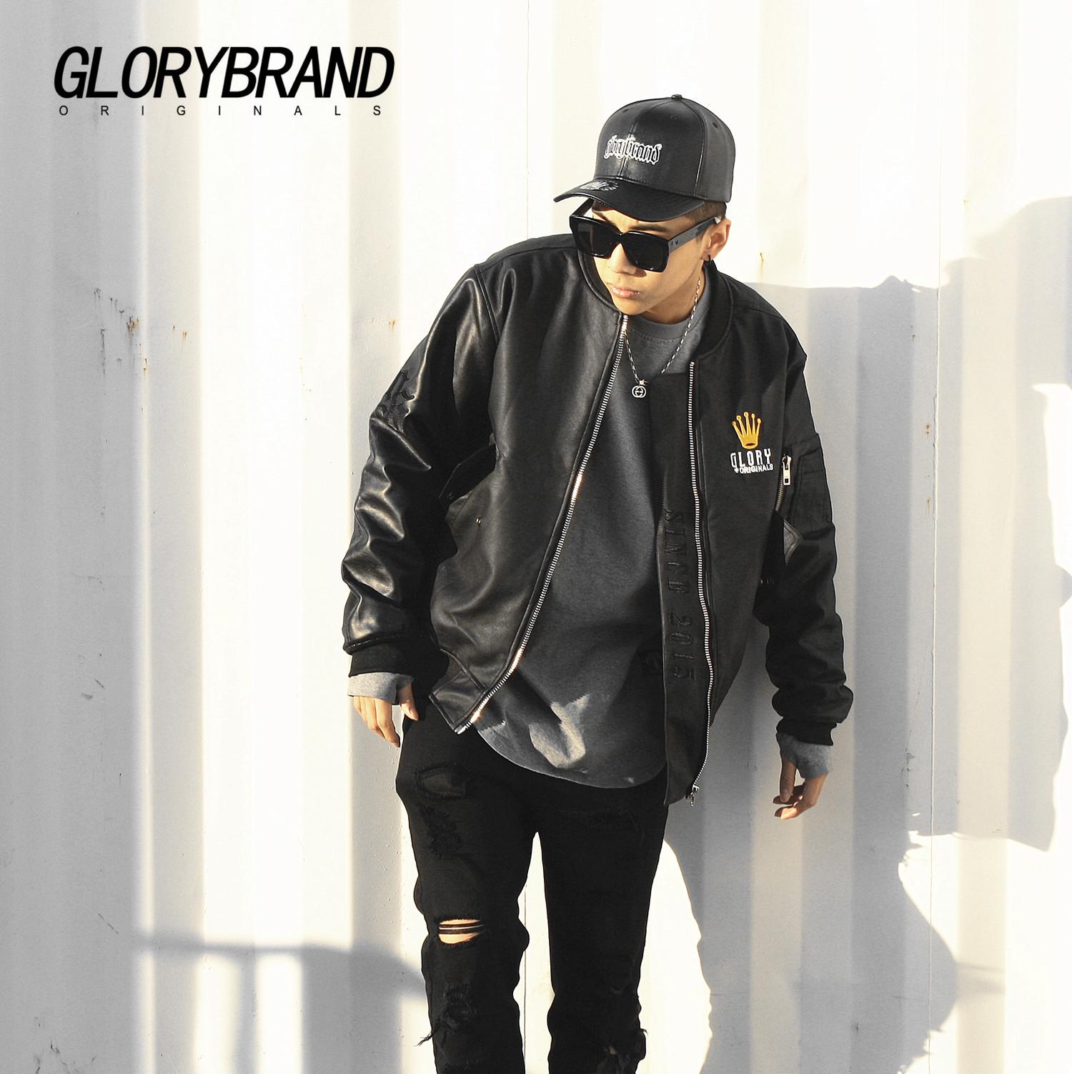 原创高街潮牌GLORY暗黑系FRESH刺绣PU皮MA1皮衣空军棉服夹克外套