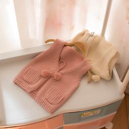 儿童马甲女宝宝针织衫2018新款春秋童装女童纯色薄款背心坎肩外穿