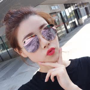 f77d99a8d41 2018 new round face polarized sunglasses female tide net red couple driving  men s sunglasses frog mirror