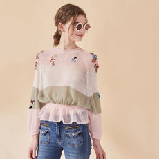 Oz Collection Featured Album 18 Spring Wool Flower Embroidery Patchwork Lotus Leaf Waist Neck Knit Sweater