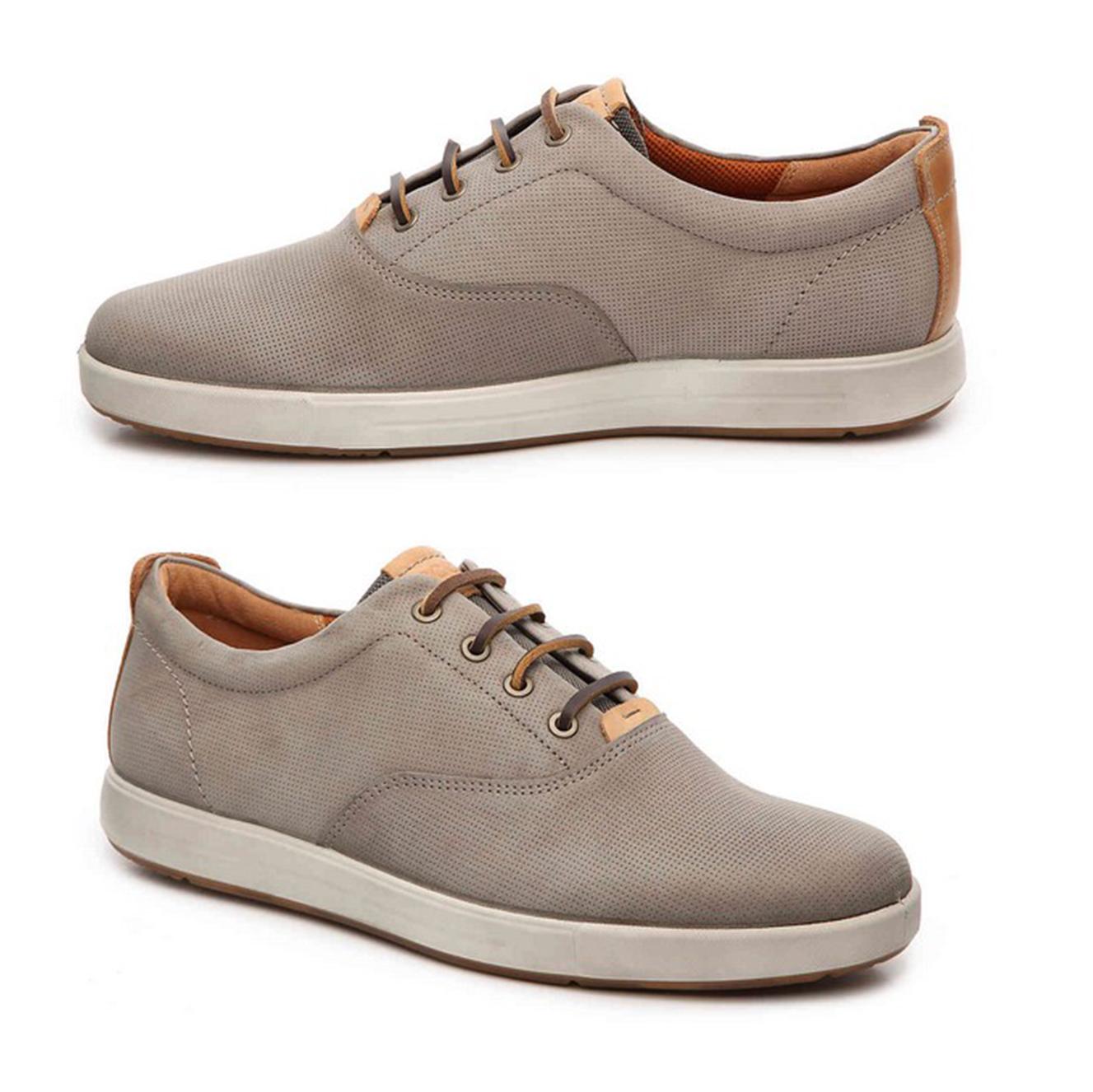 ecco/爱步男鞋运动休闲鞋系鞋带白边透气舒适耐磨 灰色