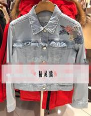 18 years old by spring new female flowers embroidery lace stitching denim jacket short coat M/TTJE82303A