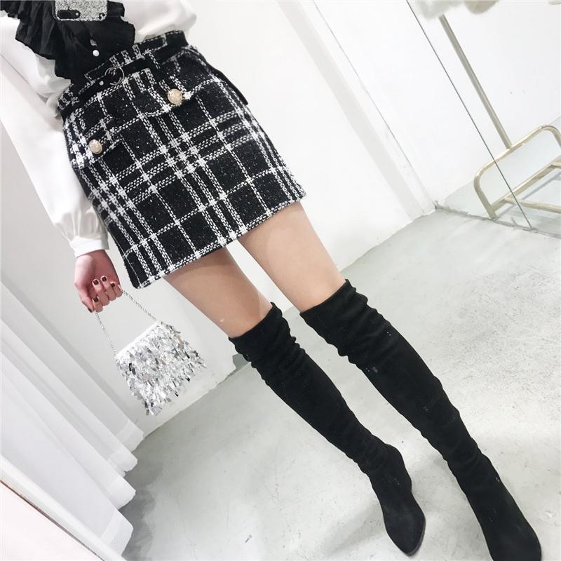 粗花呢半身裙女2018春季新款高腰显瘦小香风格子A字裙(含腰带)