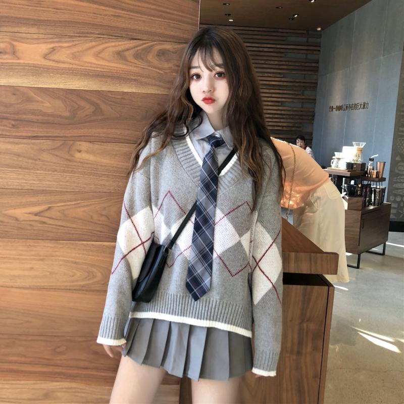 牵着你衣角~韩版JK班服学院风V领菱形毛衣+衬衣送领带+百褶短裙女