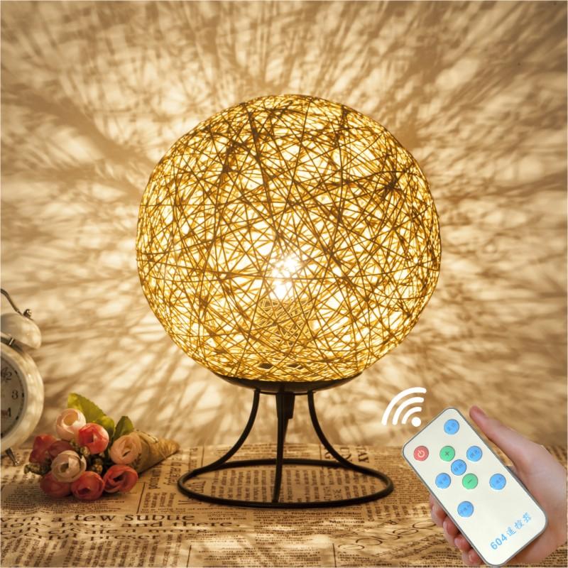 卧室床头小夜灯创意遥控可调光LED麻球藤艺麻线藤球生日礼物台灯