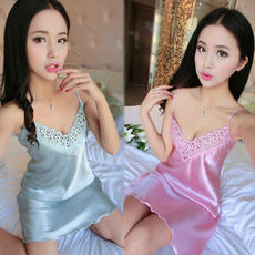 Pajamas women summer straps nightdress sex lingerie extreme temptation ice silk home service female summer spring and autumn thin section