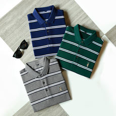 Autumn for men's new clothes!! Pearl texture Breathable dry ~ Polo embroidery striped casual POLO shirt