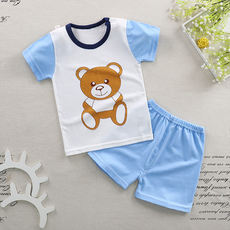 Baby summer children's short sleeve new suit thin section cotton men and women models children's clothing 1-4 years old two-piece summer T-shirt