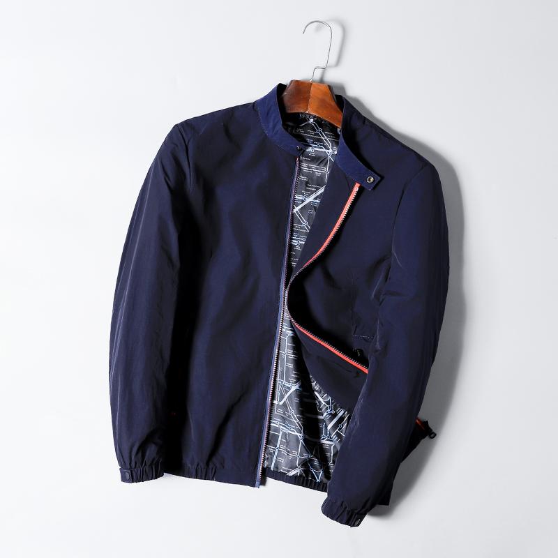 秋季夹克外套男简约百搭短款防风修身薄男装时尚青年休闲立领上衣