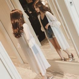 雪纺防晒衫女夏季大码防晒衣中长款开衫防紫外线防晒服披肩薄外套