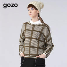 [designer]gozo 2017 winter round neck stitching long sleeve sweater GE7W700400