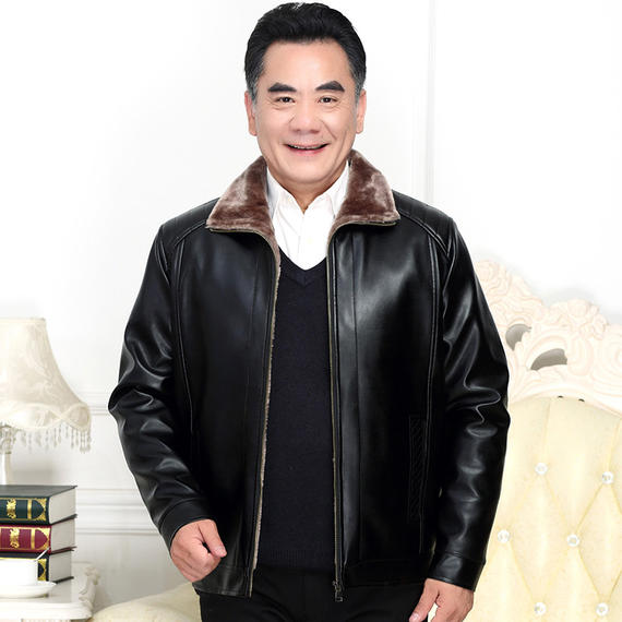 Winter new middle-aged plus velvet thick leather men's large size dad jacket middle-aged men's leather jacket male