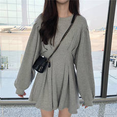 快啦啦 Han Style Chic2018 autumn new loose high waist was thin lantern sleeve dress A word short skirt female