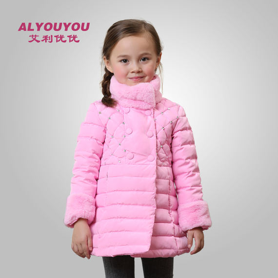 Girls down jacket Korean version of autumn and winter girls down jacket female big children in the long section thick out out cold down jacket