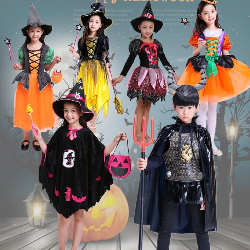 万圣节南瓜裙儿童cosplay服装 小精灵角色扮演服小巫婆女巫演出服