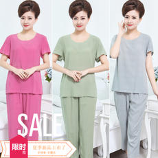 Summer middle-aged pajamas women cotton silk mother short-sleeved clothes elderly summer arganist two-piece suit