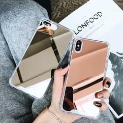 补妆神器iPhoneX镜子手机壳6s苹果7plus网红同款镜面防摔软壳8P女